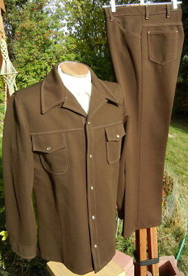 Vintage 1970s FARAH Leisure Suit LARGE 36x32 - Flared Legs, Western Styling
