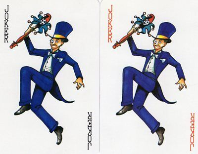 "Pair RARE MINT ""Joker Wearing a Blue Suit"" JOKER Playing Cards #284"