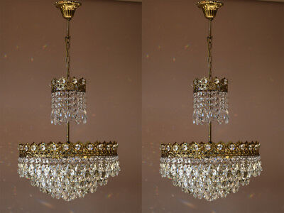 Matching Pair Lights Antique French Vintage Crystal TWO Chandeliers Old Lighting