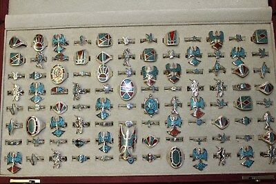 96 Rings New Old Stock Vintage 70's Turquoise Native American Sizes 13 - 3 Lot