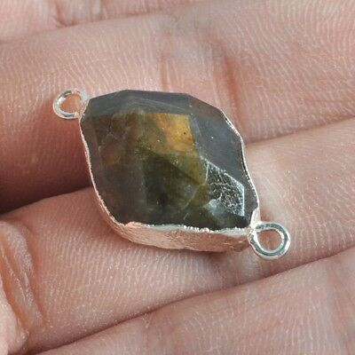 Natural Labradorite Faceted Connector Silver Plated T046613