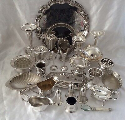 Fine Quality Joblot Of 27 Antique Vintage Silver Plated Items VGC