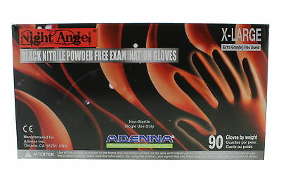 Adenna NIGHT ANGEL Black Nitrile PF Exam Gloves NGL Extra Large