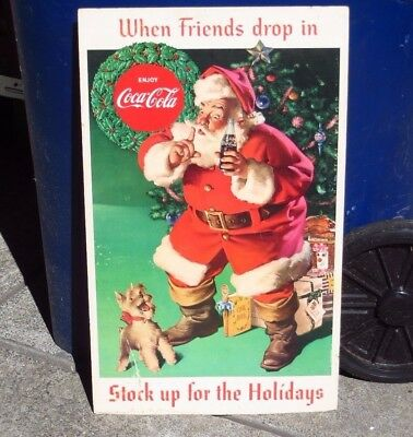 60's Coca-Cola Store Cardboard Display Sign When Friends Drop in Santa Christmas