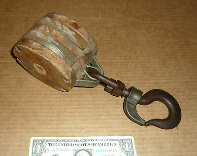 Vintage Double Roller Pulley,Block Tackle Tool,Quick Snap Release Hook,Nautical