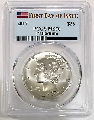 2017 Palladium American Eagle 1 oz PCGS MS 70 First Day of Issue FDI