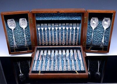 GORGEOUS 24pc VICTORIAN SILVER PLATE CASED LUNCHEON FLATWARE SET w BERRY SPOONS