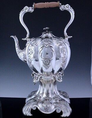 VERY BEAUTIFUL LARGE c1880 VICTORIAN SILVER PLATE TIPPING TEA KETTLE ON STAND