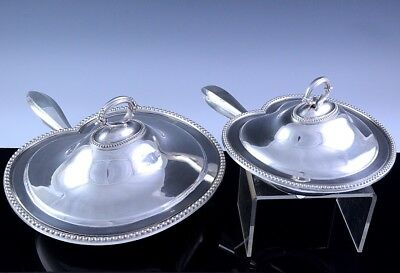 AMAZING & MOST UNUSUAL PAIR c1900 JAMES DIXON SILVER PLATE ENTREE SERVING DISHES