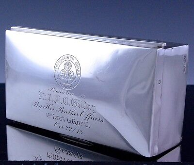 Very Nice 1911 1St Grenadier Guards Canada Sterling Silver Cigarette Desk Box