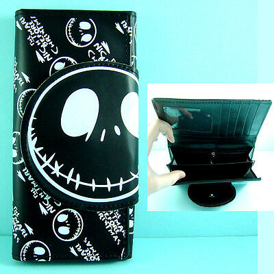 Nightmare Before Christmas Jack Black Coins Pouch Bag Long Purse Wallet + CHARM