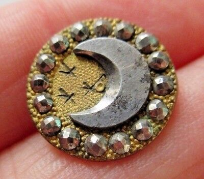 Dazzling Antique~ Vtg Victorian Metal BUTTON w/ Cut Steel Crescent MOON & Border