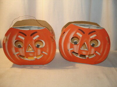 2 Vintage Die Cut Pumpkins to Hold a Candle Halloween Decoration As Is
