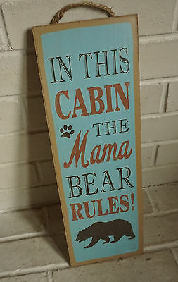 IN THIS CABIN THE MAMA BEAR RULES Rustic Lodge Wood Home Decor LARGE Sign - NEW