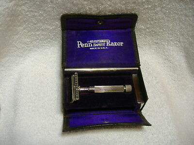 Vintage Adjustable Penn Safety Razor With Accessories Patent Date Dec 1918 W/Box