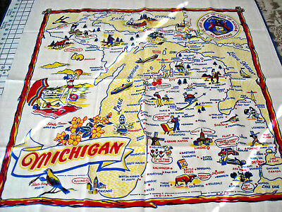 "Map of Michigan NEW though Vintage Tablecloth-34"" x 35""-1960?"