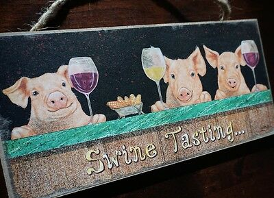 SWINE TASTING Rustic Country Pigs Red Wine Cellar Bar Tavern Home Decor Sign NEW