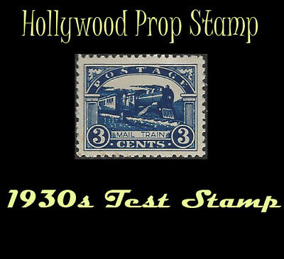 US 3 cent MAIL TRAIN perfed test stamp Hollywood prop 1930 SCARCE