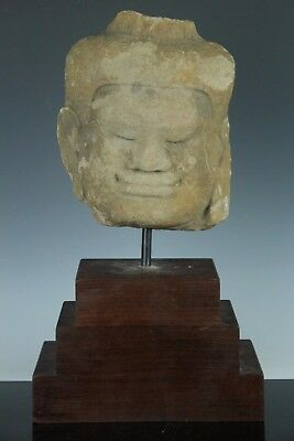 KHMER SCULPTURE SANDSTONE FRAGMENT HEAD OF A MALE 10th CENTURY OCT087