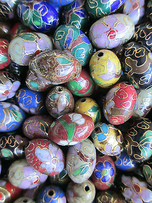 BIG Lot Cloisonne Beads 18x12 Egg Shape 13 Unique Colors 48 Bead Mix GORGEOUS !