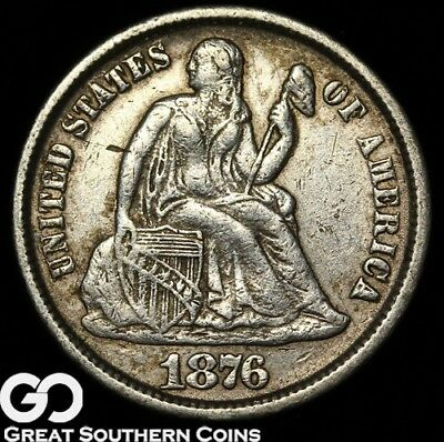 1876-CC Seated Liberty Dime, Tougher Carson City Mint Date