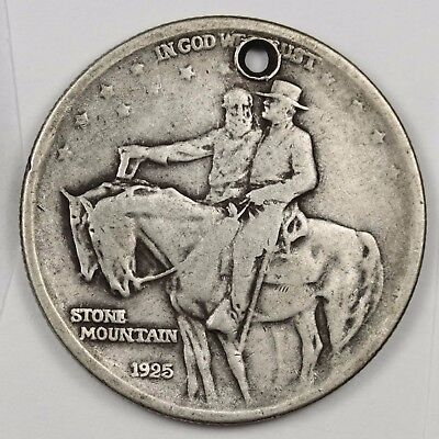 1925 Stone Mountain Half.  Commemorative.  F.-V.F. Detail. Holed.  115607