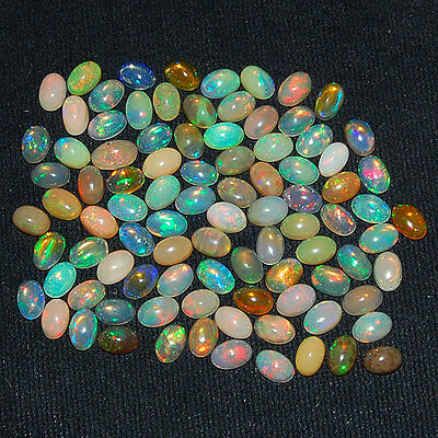 29 Cts/92 Pcs [Certified Lot] Natural Ethiopian Opals ~ Vibrant Play of Colors