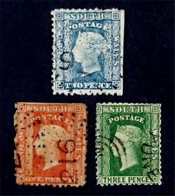 nystamps British Australian States New South Wales Stamp # 35 - 37 Used $78