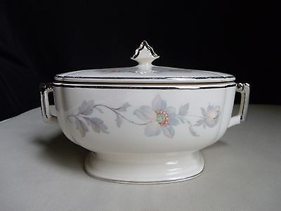Limoges American Sebring China Covered Casserole Dish Silver Moon Ivory Floral