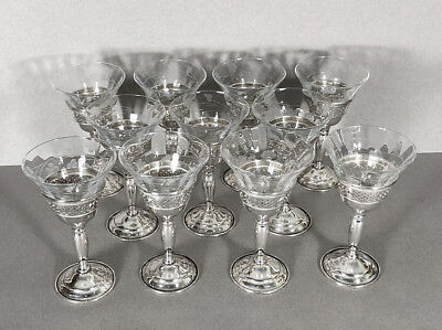 11 Cartier Sterling Silver Cordials Glass Etched Cups Set of Eleven Vintage