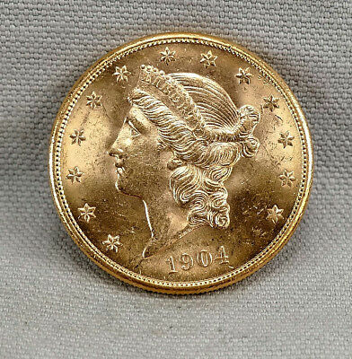 1904-S $20 Liberty Head DOUBLE EAGLE Brilliant Uncirculated Gold Coin! FREE SHIP
