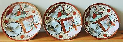 3 JAPANESE KUTANI PLATES, HAND PAINTED w GILDED ACCENTS, EXCELLENT VINTAGE