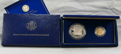 1987-W US Constitution Commemorative $5 Gold & Silver Dollar 2 PC PROOF Set!!
