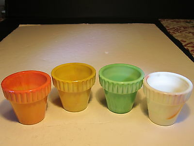 4 Vintage AkroAgate Different Colored Flower Pots