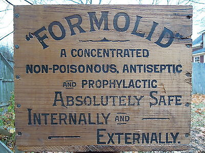 Wampole's Formolid Wood Advertising Crate, Dental, Surgical, Mouth Wash, Gargle