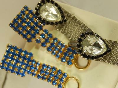 Lot 2 Pair WRAP Around Blue RHINESTONE CUFF LINKS Crystal Black Estate VINTAGE