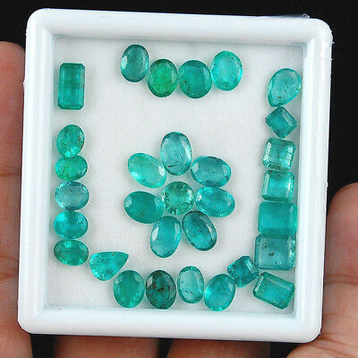 31 Cts/31 Pcs ~Certified~ Untreated Finest Green Natural Zambian Emerald Lot
