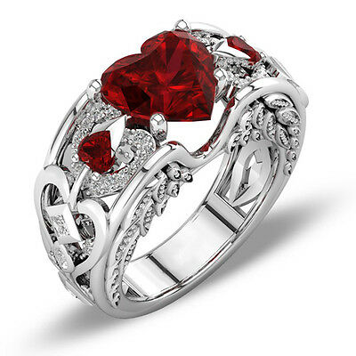 Gorgeous 925 Silver Heart Cut Ruby Women Wedding Rings Engagement Band Jewelry