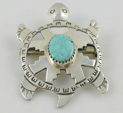 D/T Emery Navajo Native American Turquoise Sterling Silver Turtle Pin