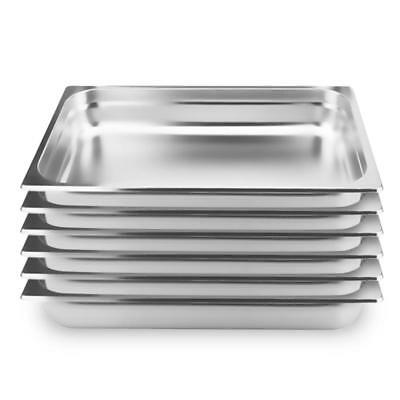 6 x Full Size 1/1 GN Pan 100mm Deep Stainless Steel Gastronorm GN Pan Tray