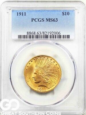 1911 PCGS Eagle, $10 Gold Indian, PCGS MS 63 ** Sharp Lustrous Beauty * Free S/H