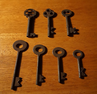 Set of 7 Rustic Cast Iron 19th Century Style Cabinet Skeleton Keys Rusted Finish