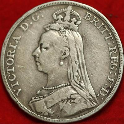 1892 Great Britain Crown Silver Foreign Coin Free S/H