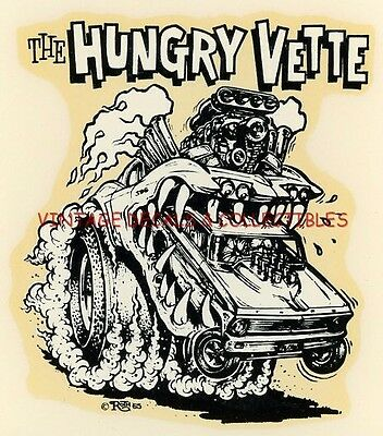 "Vintage Original Ed Roth ""hungry Vette"" Big Daddy 1965 Water Auto Decal Original"