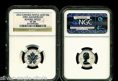 2013 $2 1/10 Canada Silver Maple Leaf Ngc Pf70 Reverse Proof 25Th Anniversary
