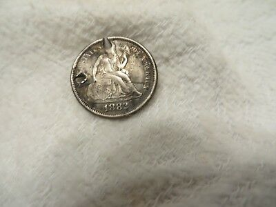 1882 Seated Liberty Dime Monogrammed Token