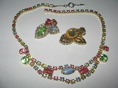 1950's Colorful Weiss Necklace Earring Set Vintage Jewelry Costume  #b76