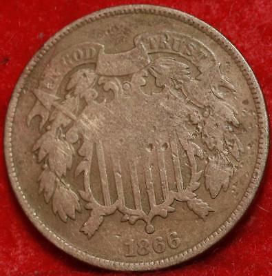 1866 Copper Philadelphia Mint Two Cent Coin Free Shipping