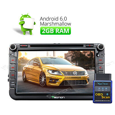 "OBDII 8""Android 6.0 Octa Core Car Stereo GPS 1024x600 Navi System A for VW Golf"