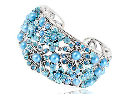 Frosted Metal Bead Turquoise Aqua Blue Sea Flower Garden Bracelet Bangle Cuff